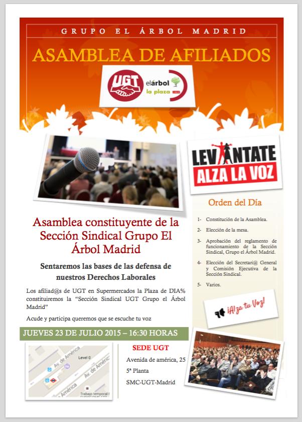Asamblea constituyente de la Sección Sindical Grupo El Árbol Madrid