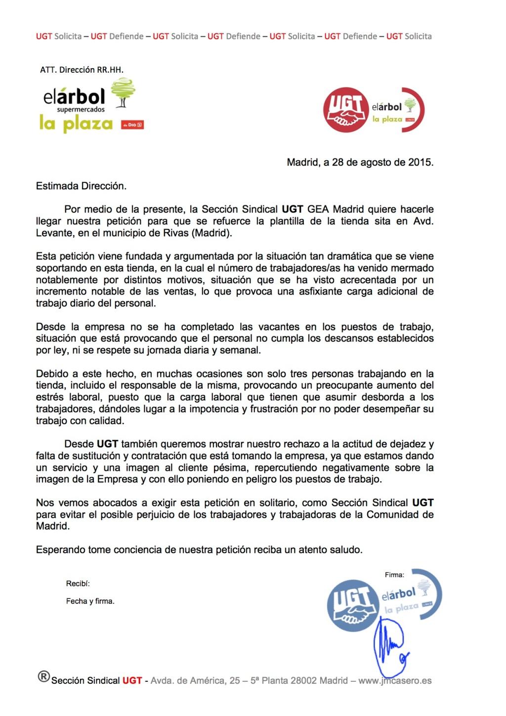 """UGT solicita que se refuerce la plantilla de la """"Plaza de DIA%"""" sita en Avd. Levante, Rivas."""