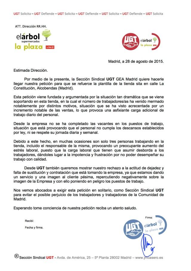 """Solicitud de UGT para que se refuerce la plantilla de """"Plaza de DIA%"""" sita en calle La Constitución, Alcobendas"""