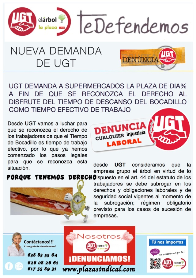 Nueva Demanda de UGT a Supermercados La Plaza de DIA%