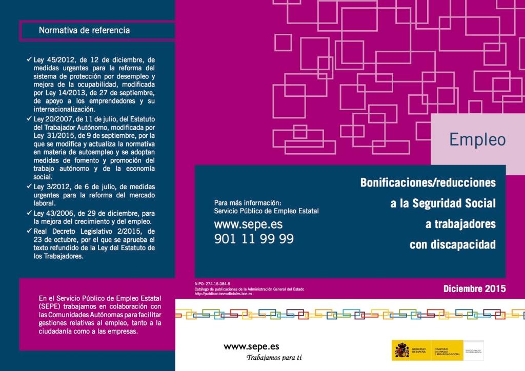 Bonificaciones en las cotizaciones a la Seguridad Social a trabajadores con discapacidad