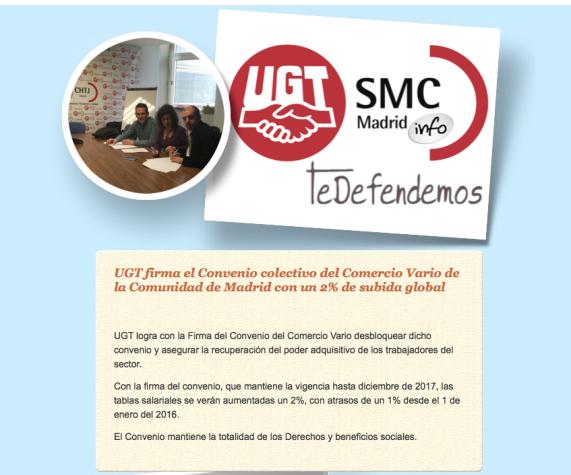 UGT firma el Convenio colectivo del Comercio Vario de la Comunidad de Madrid con un 2% de subida global