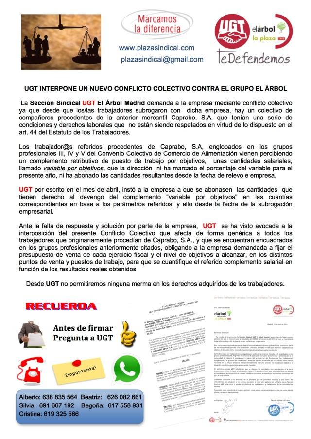 UGT INTERPONE UN NUEVO CONFLICTO COLECTIVO CONTRA EL GRUPO EL ÁRBOL
