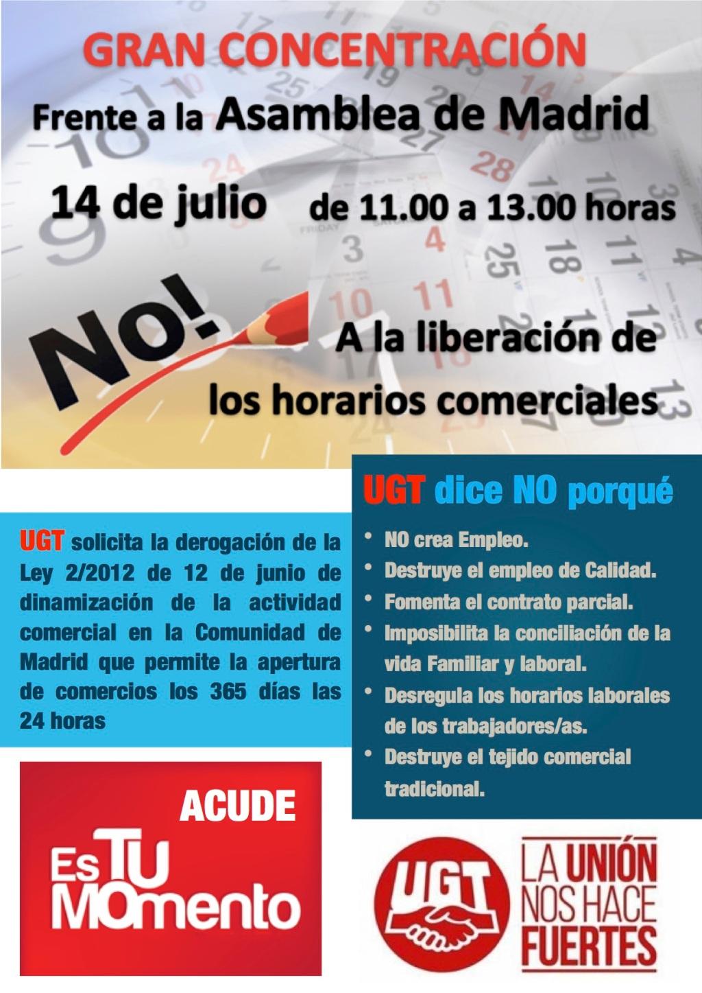 UGT convoca una concentración contra la apertura comercial de los domingos y festivos