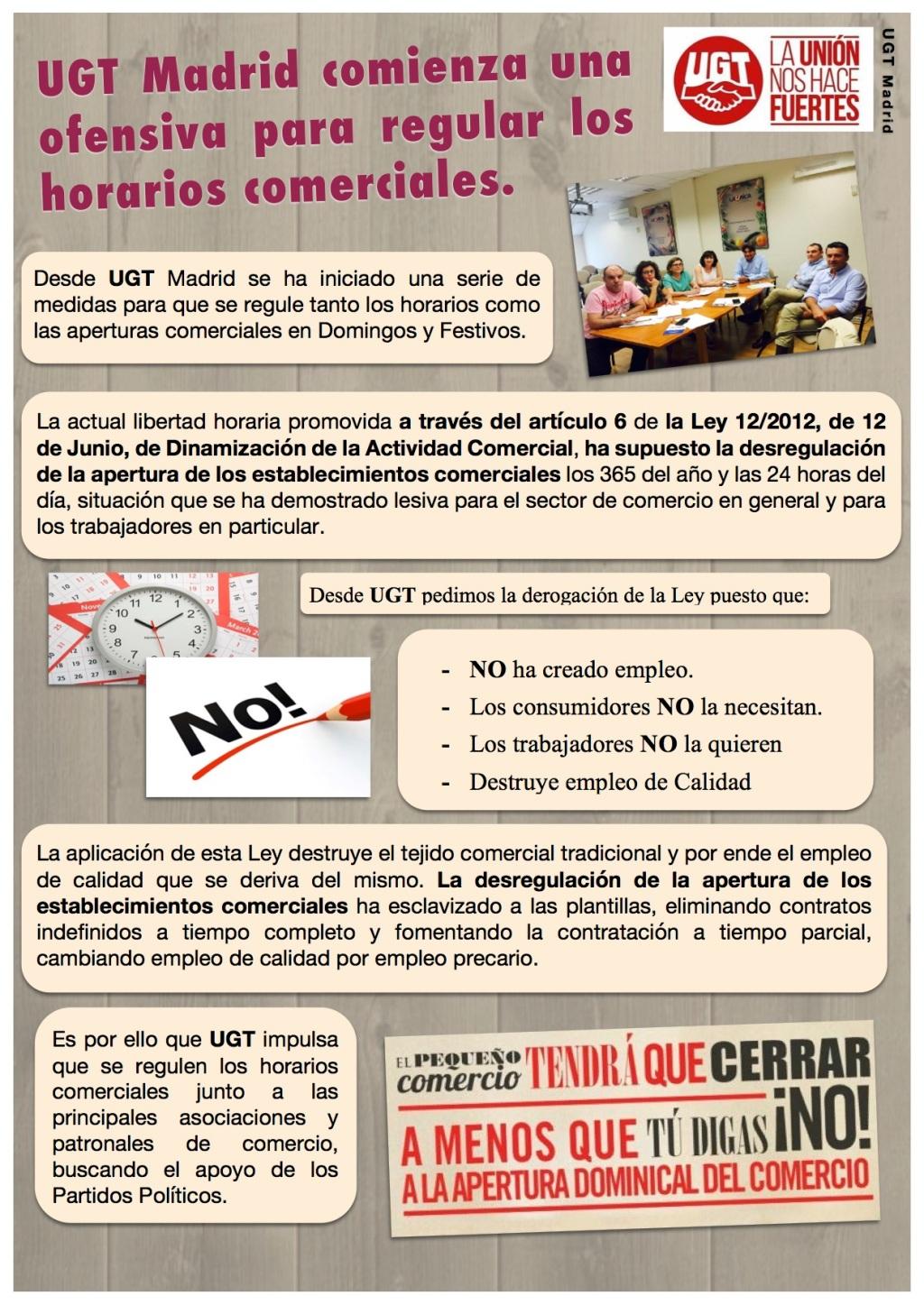 UGT Madrid comienza una ofensiva para regular los horarios comerciales.