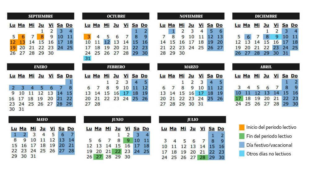 Calendario escolar del curso 2016-2017: festivos y lectivos en Madrid