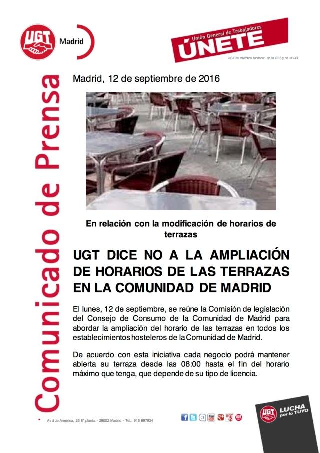 UGT DICE NO A LA AMPLIACIÓN DE HORARIOS DE LAS TERRAZAS EN LA COMUNIDAD DE MADRID