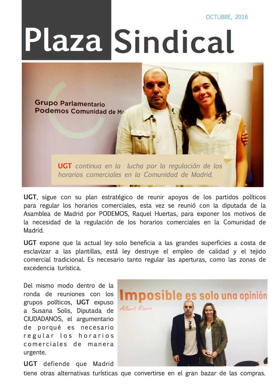 UGT continua en la lucha por la regulación de los horarios comerciales en la Comunidad de Madrid.