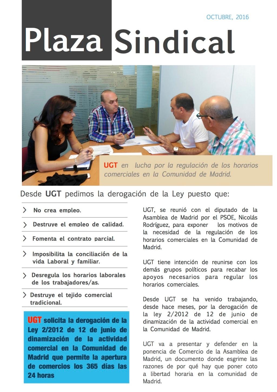 UGT en lucha por la regulación de los horarios comerciales en la Comunidad de Madrid.