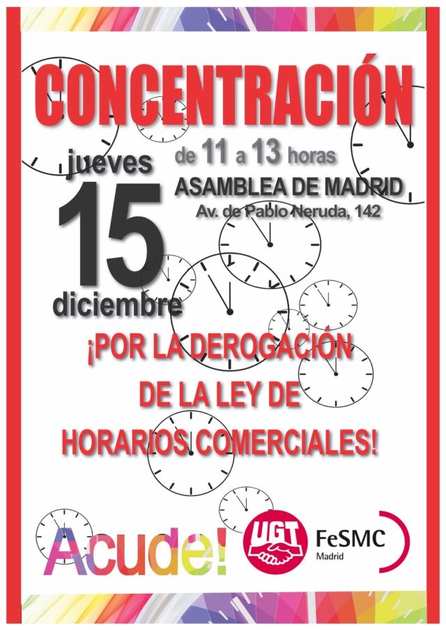 UGT convoca una CONCENTRACIÓN el día 15 de diciembre, de 11.00 a 13.00 horas en la Asamblea de Madrid, por la derogación de los Horarios com