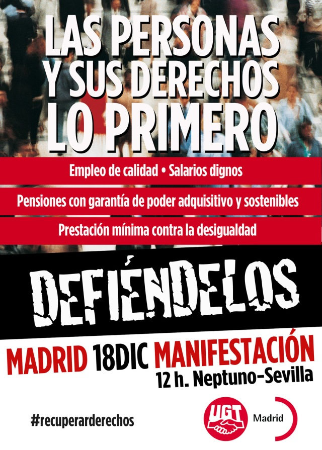 Manifestación 18 de diciembre Campaña de impulso de la negociación colectiva entre el Gobierno, la patronal y los Sindicatos