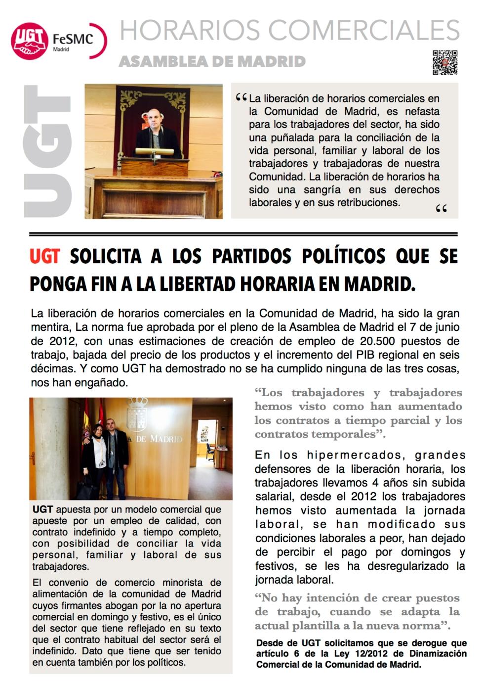 UGT solicita a los partidos políticos que se ponga fin a la libertad horaria en Madrid.