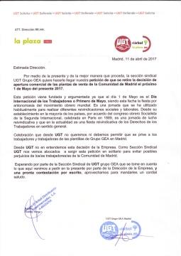 UGT consigue que Supermercados la Plaza de DIA% rectifique y no abra el 1º de Mayo.