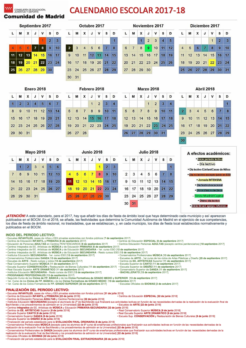 Calendario Escolar 2017 - 2018 Madrid