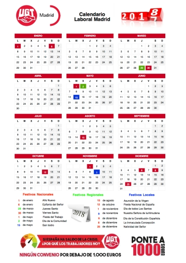 Calendario Laboral Comunidad De Madrid.Calendario Laboral 2018 Comunidad De Madrid Plaza Sindical