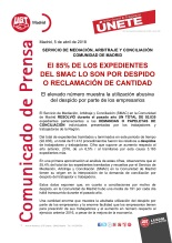 El 85% DE LOS EXPEDIENTES DEL SMAC LO SON POR DESPIDO O RECLAMACIÓN DE CANTIDAD