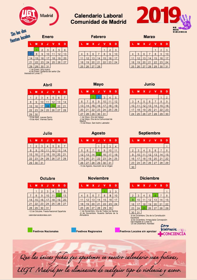 Calendario Laboral comunidad de Madrid sin festivos locales