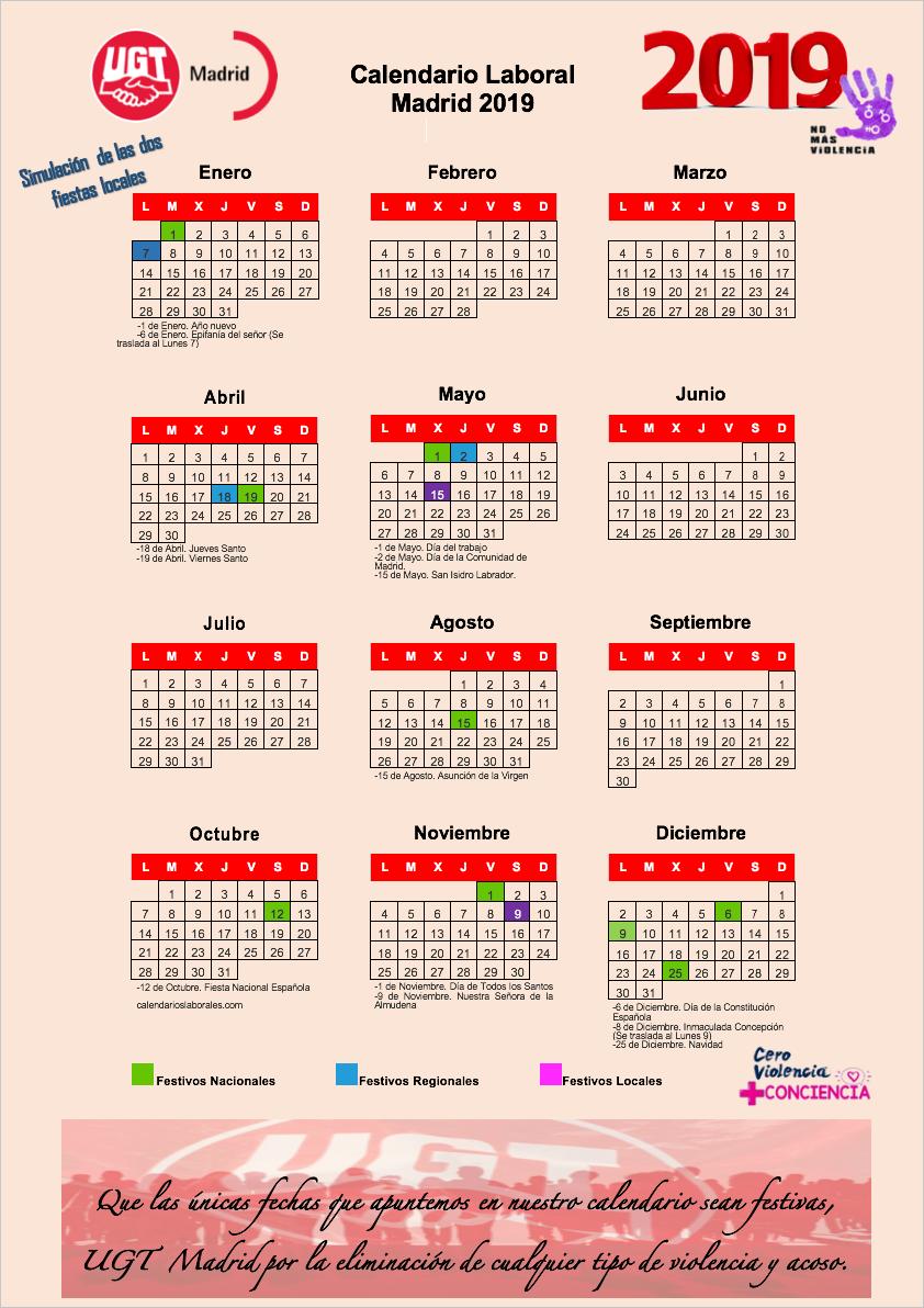 simulación del calendario Laboral 2019 del municipio de Madrid