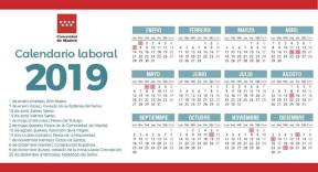 Calendario laboral de 2019 Comunidad de Madrid