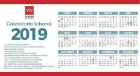 Calendario laboral de 2019 Comunidad de Madrid