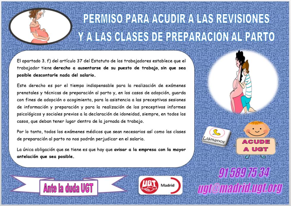 PERMISO PARA ACUDIR A LAS REVISIONES Y A LAS CLASES DE PREPARACIÓN AL PARTO