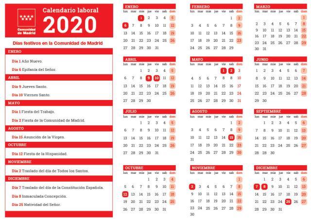Fiestas laborales para el año 2020 en la Comunidad de Madrid