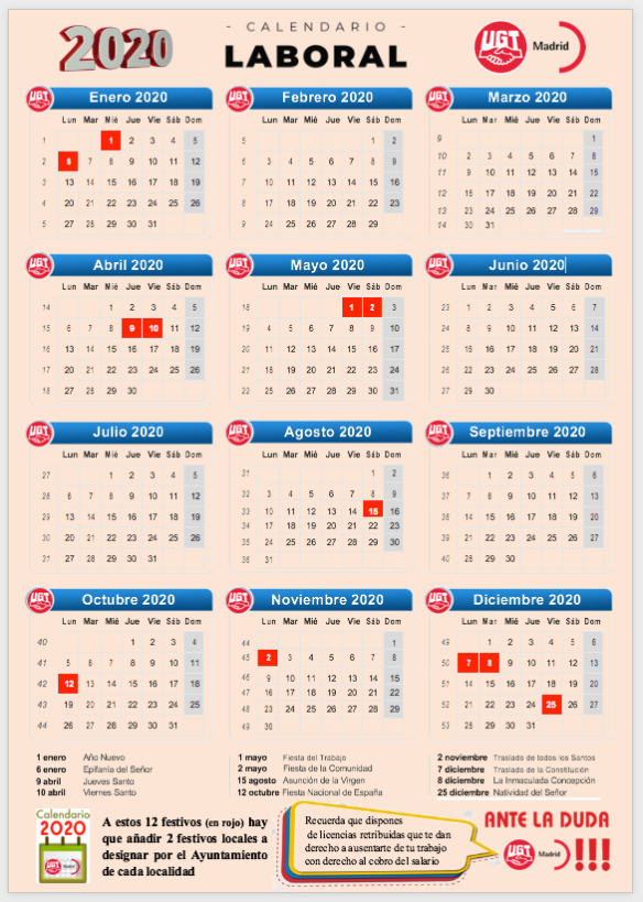 2020 Calendario Laboral.Calendario Laboral 2020 Comunidad De Madrid Plaza Sindical