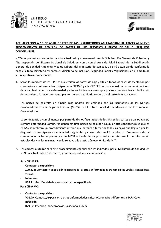 ACTUALIZACION A 15 DE ABRIL DE 2020 DE LAS INSTRUCCIONES ACLARATORIAS RELATIVAS AL NUEVO PROCEDIMIENTO DE REMISIÓN DE PARTES DE LOS SERVICIOS PÚBLICOS DE SALUD (SPS) POR CORONAVIRUS.