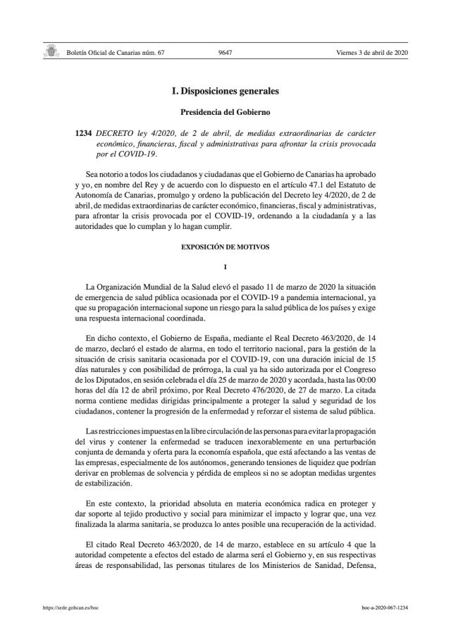 DECRETO ley 4/2020, de 2 de abril, de medidas extraordinarias de carácter económico, financieras, fiscal y administrativas para afrontar la crisis provocada por el COVID-19.