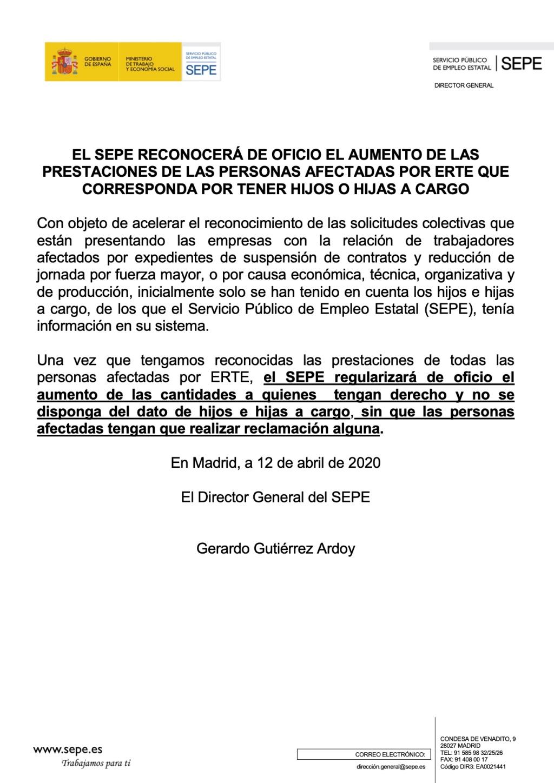 El SEPE reconocerá de oficio en los ERTES el aumento de la prestación por hijos a cargo