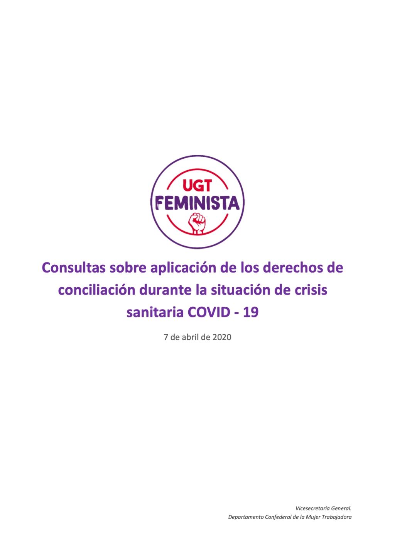Guía de consultas sobre aplicación de los derechos de conciliación durante la situación de crisis sanitaria COVID - 19