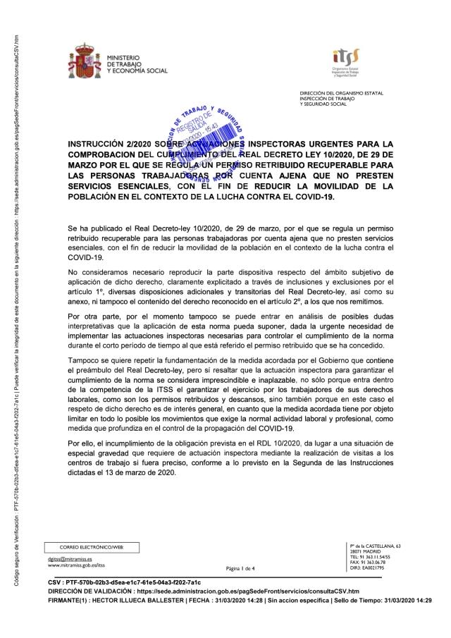 INSTRUCCIÓN DE LA ITSS SOBRE EL PERMISO RETRIBUIDO RECUPERABLE