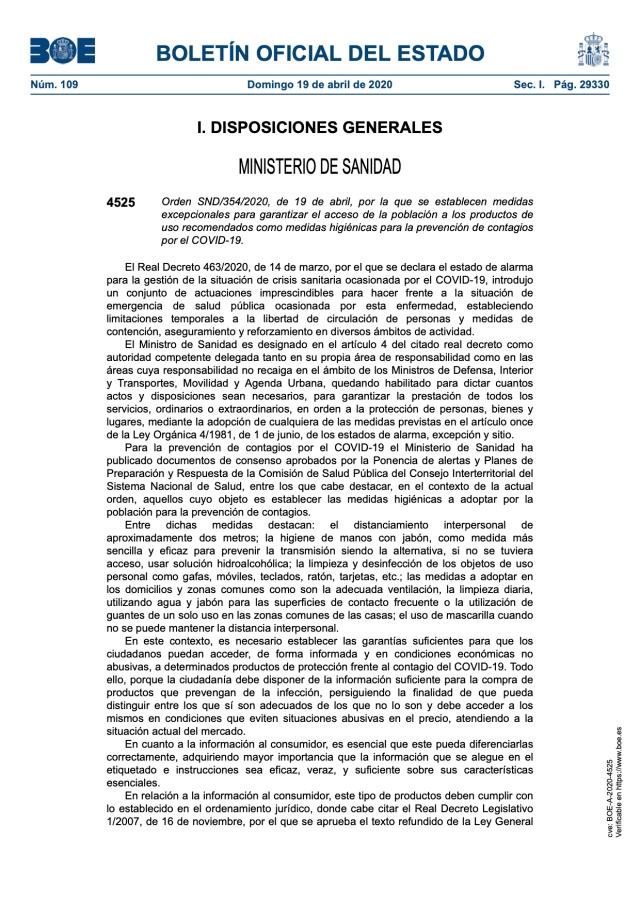 Medidas excepcionales para garantizar el acceso a los productos de uso como medidas higiénicas para la prevención de contagios por el COVID-19