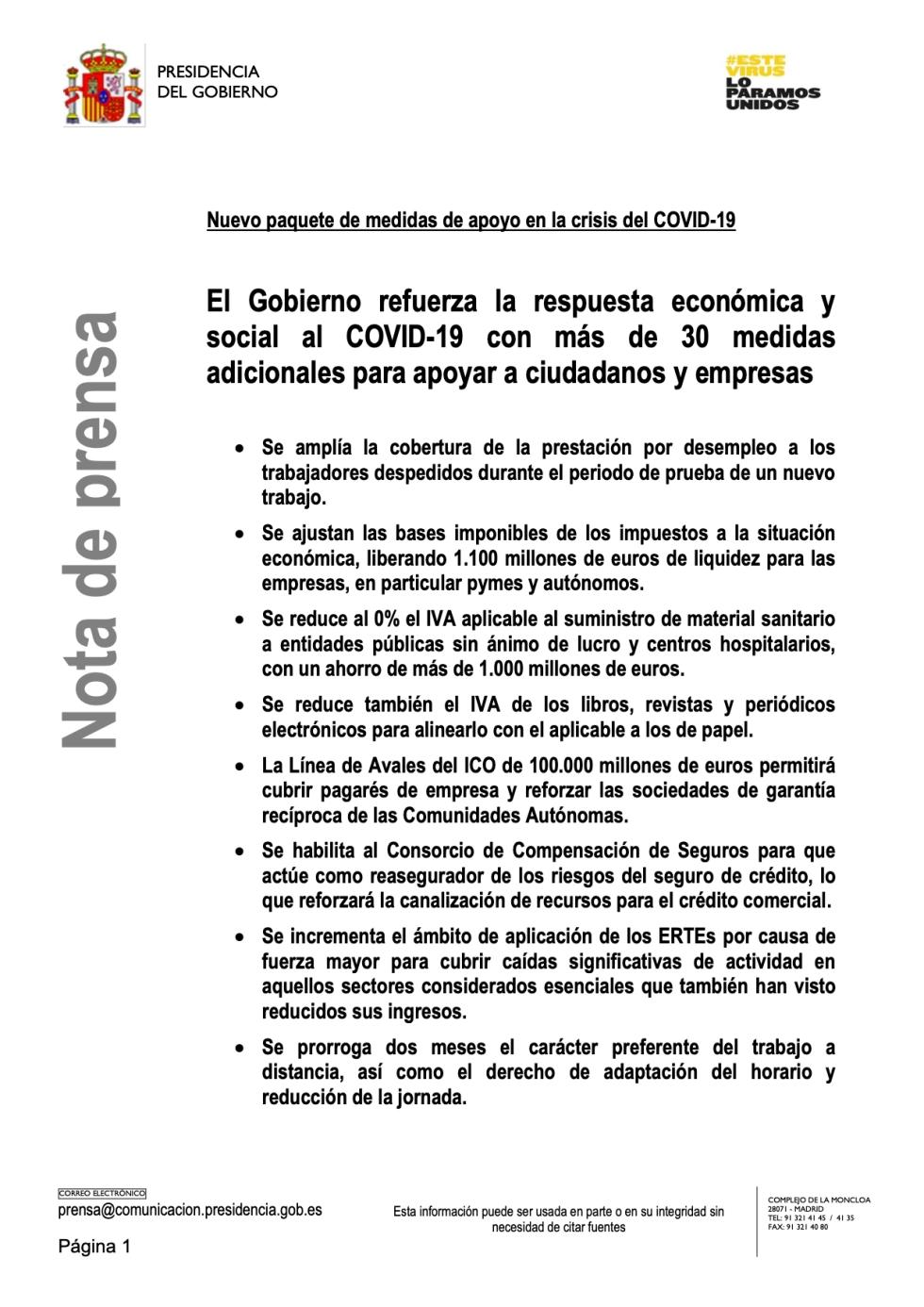 Nuevo paquete de medidas de apoyo en la crisis del COVID-19
