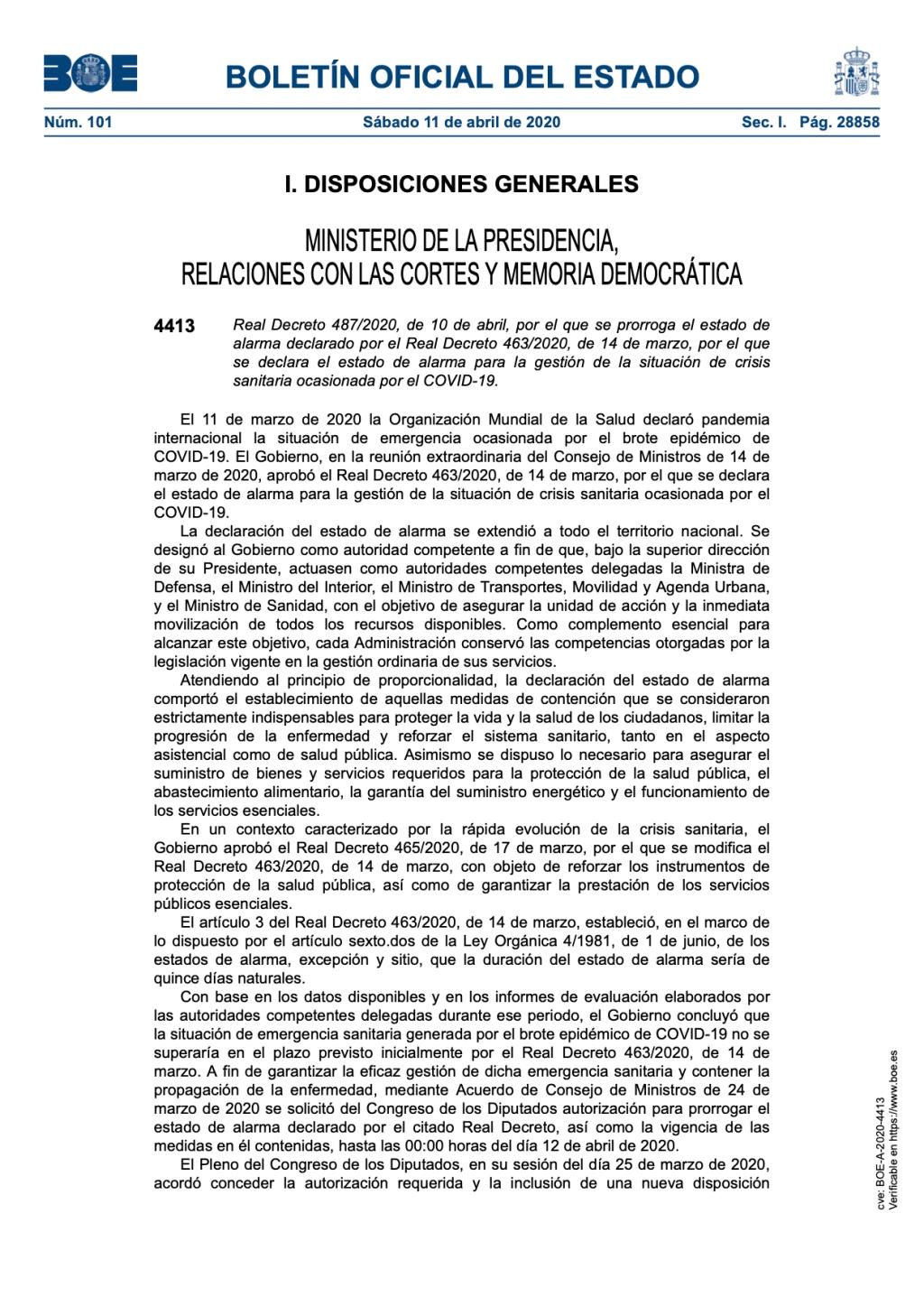 Real Decreto 487/2020, de 10 de abril, por el que se prorroga el estado de alarma por el COVID-19.
