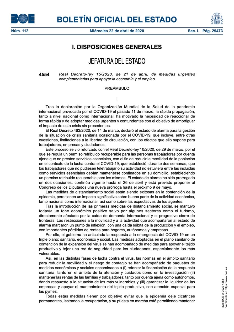 Real Decreto-ley 15/2020, de 21 de abril, de medidas urgentes complementarias para apoyar la economía y el empleo.