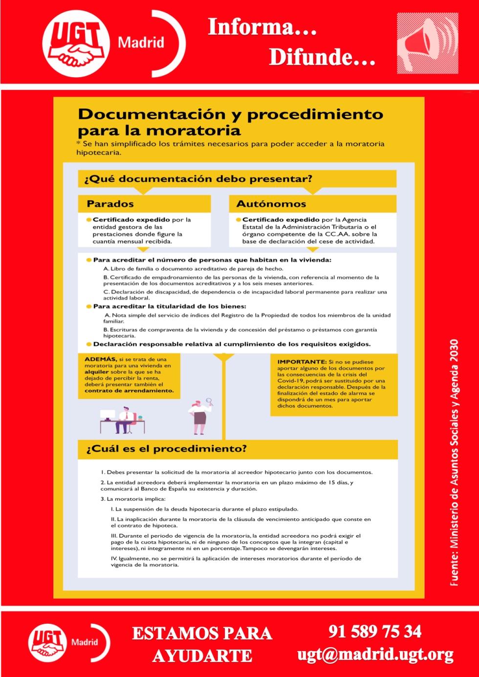 Documentación y procedimiento para la moratoria de la deuda hipotecaria
