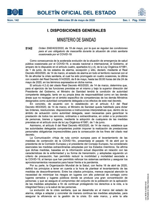 Condiciones para el uso obligatorio de mascarilla durante la situación de crisis sanitaria.