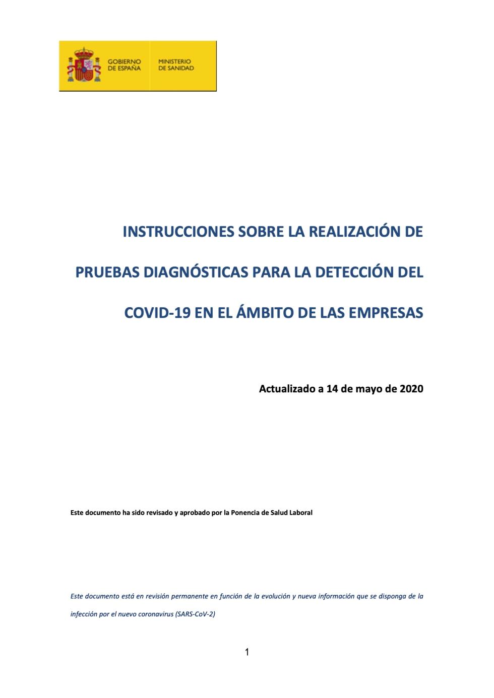 INSTRUCCIONES SOBRE LA REALIZACIÓN DE PRUEBAS DIAGNÓSTICAS PARA LA DETECCIÓN DEL COVID‐19 EN EL ÁMBITO DE LAS EMPRESAS