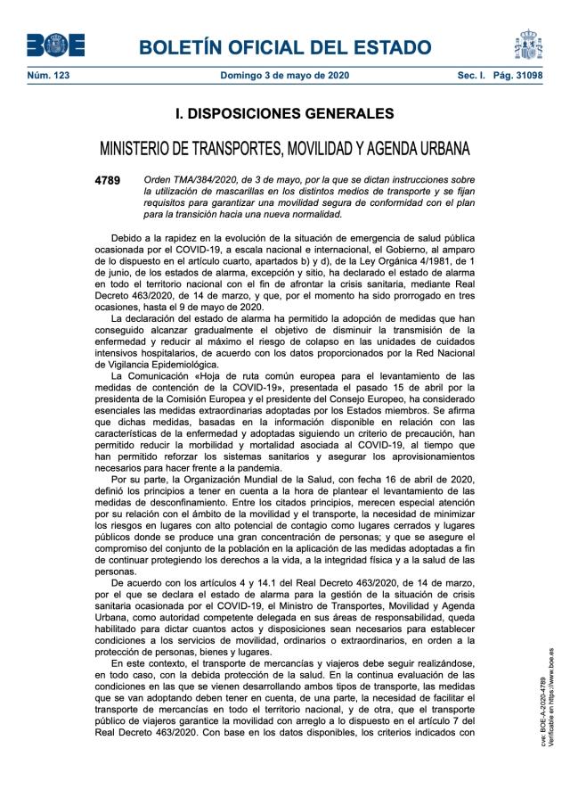 Instrucciones sobre la utilización de mascarillas en los distintos medios de transporte