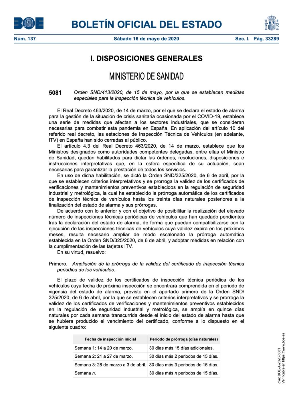 Orden SND/413/2020, de 15 de mayo, por la que se establecen medidas especiales para la inspección técnica de vehículos.