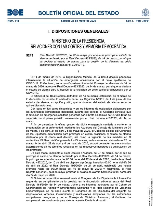 Real Decreto 537:2020, de 22 de mayo, por el que se prorroga el estado de alarma