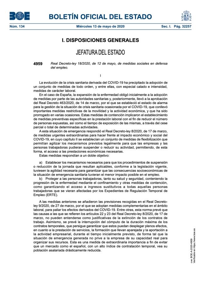 Real Decreto-ley 18/2020, de 12 de mayo, de medidas sociales en defensa del empleo.
