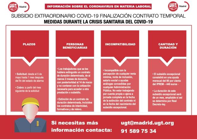 SUBSIDIO EXTRAORDINARIO COVID-19 FINALIZACIÓN CONTRATO TEMPORAL MEDIDAS DURANTE LA CRISIS SANITARIA DEL COVID-19
