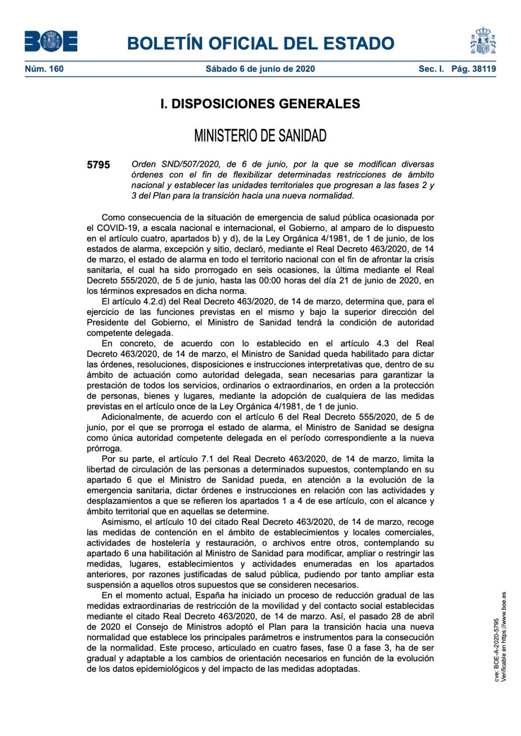 Flexibilización de determinadas restricciones de ámbito nacional y establecer las unidades territoriales que progresan a las fases 2 y 3.