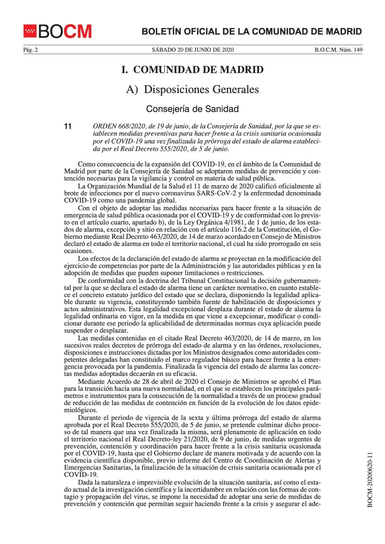 Medidas preventivas para hacer frente a la crisis sanitaria ocasionada por el COVID-19 una vez finalizada la prórroga del estado de alarma.