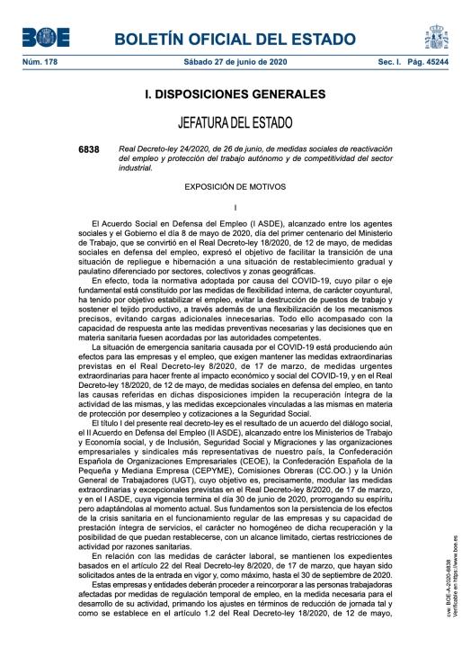 Medidas sociales de reactivación del empleo y protección del trabajo autónomo y de competitividad del sector industrial.