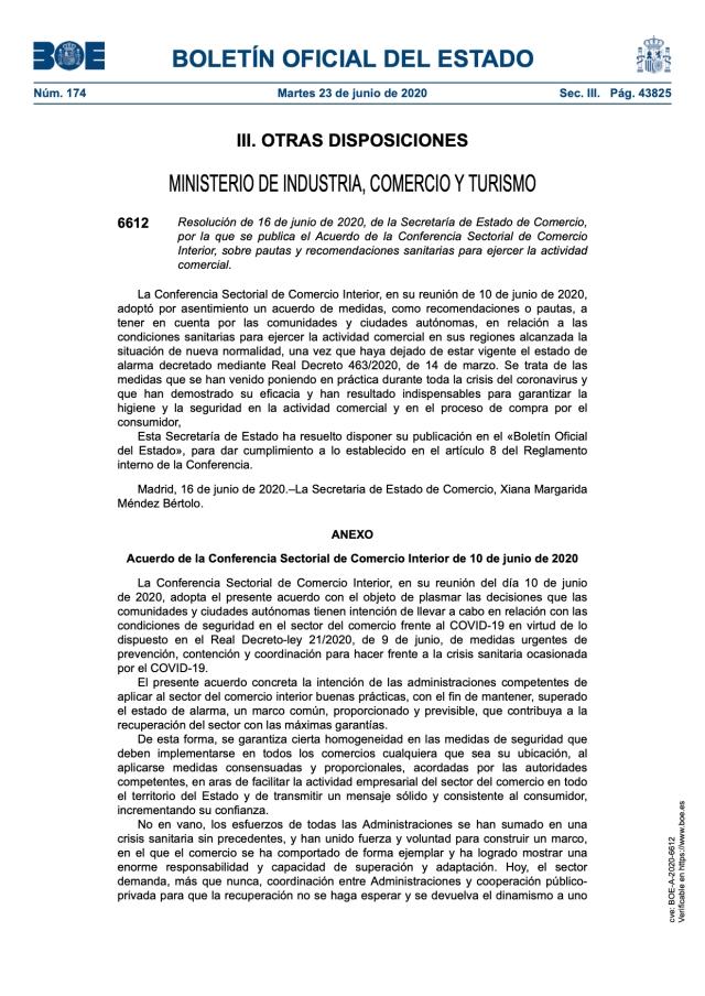 Acuerdo sobre pautas y recomendaciones sanitarias para ejercer la actividad comercial.