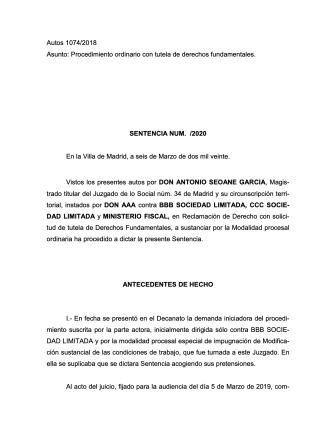 Sentencia Juzgado Social 34 Madrid 1074-2018