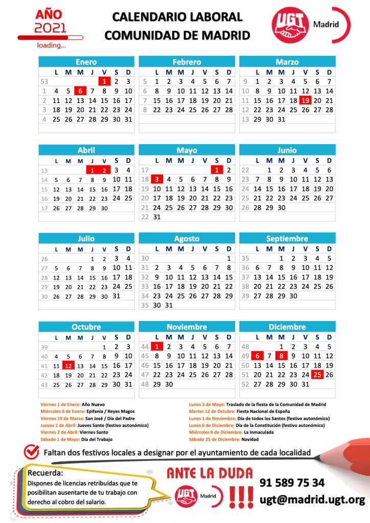 Calendario Comunidad de Madrid